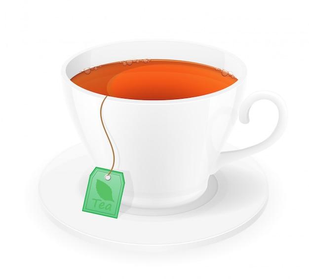 ロープベクトルイラスト付きパッケージのお茶の磁器カップ