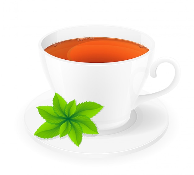 ミントのベクトル図とお茶の磁器カップ