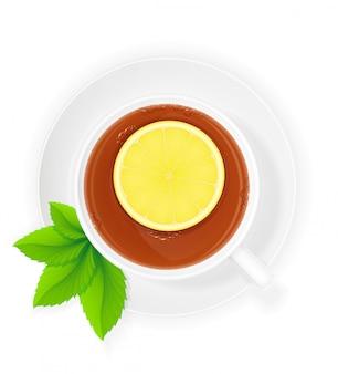 レモンとミントのベクトル図とお茶の磁器カップ