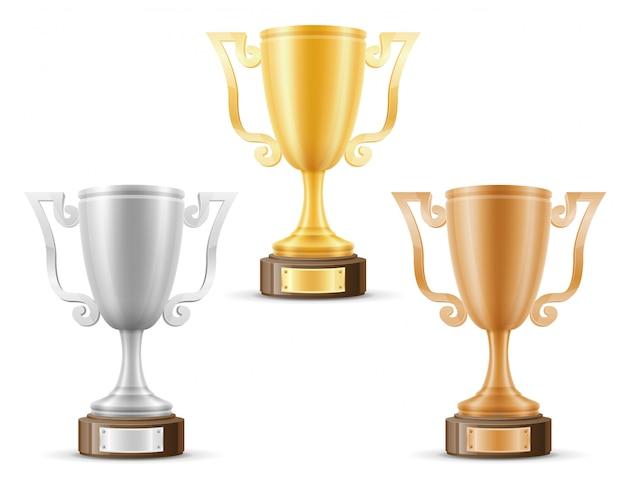 カップ優勝者ゴールドシルバーブロンズ株式ベクトル図
