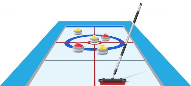 カーリングスポーツゲームのベクトル図