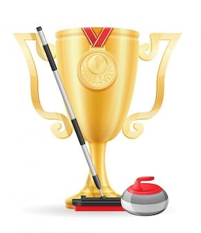 カーリングカップ優勝者ゴールド株式ベクトル図