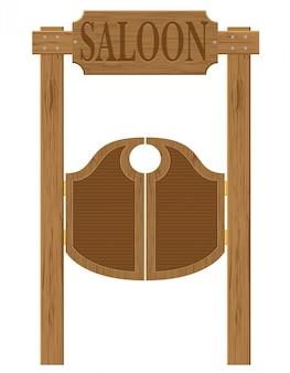 Двери в западном салоне дикого запада векторная иллюстрация