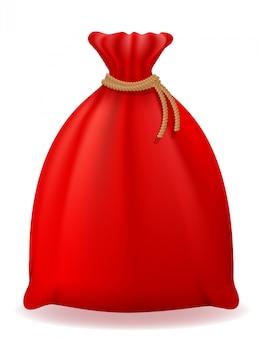赤いクリスマスバッグサンタクロースベクトルイラスト