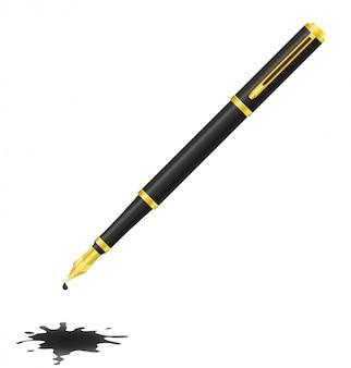 Чернильная ручка и пятно.