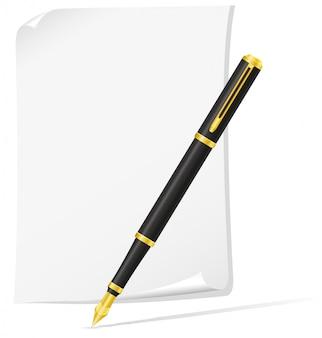 Чернильная ручка и бумага.
