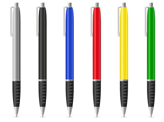 Цветные перьевые ручки.