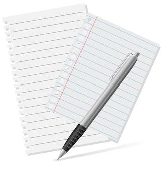 Авторучка и кусочки бумаги.