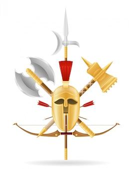 古代の戦いの武器在庫。