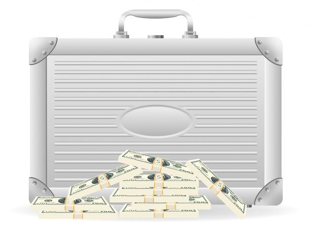 Металлический портфель с упакованными долларами.