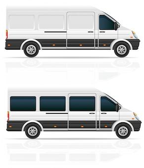 貨物と乗客を輸送するためのミニバス。