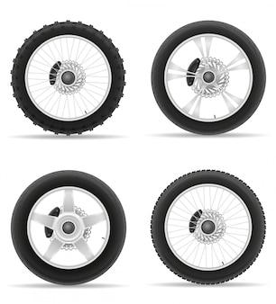 Колесо для мотоциклетного колеса с диском, набор иконок.