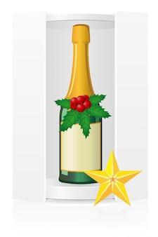 Новогодняя упаковка коробки с шампанским.