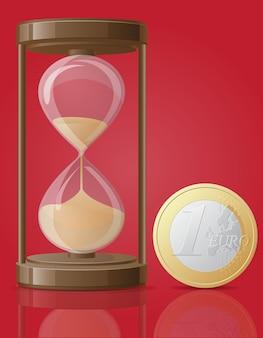 Старые ретро песочные часы и одна монета евро векторная иллюстрация