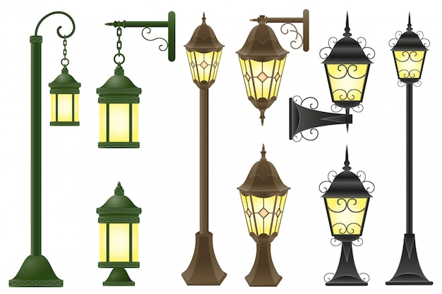 Установить уличный фонарь векторные иллюстрации