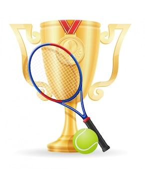 テニスカップ優勝者ゴールド株式ベクトル図
