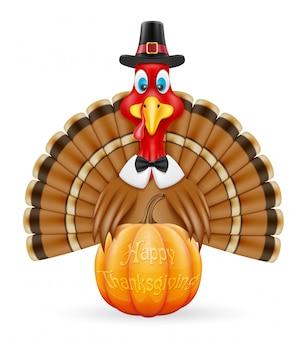 感謝祭トルコ鳥ベクトルイラスト
