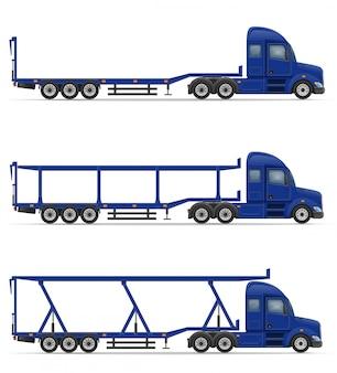 商品の輸送のためのトラックセミトレーラーベクトルイラスト