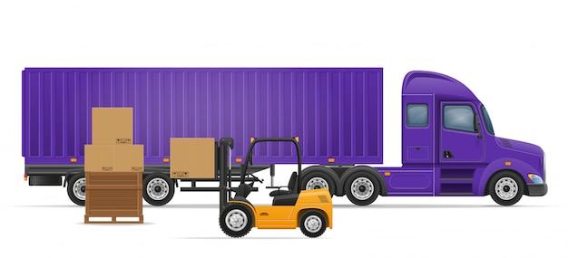 商品の概念ベクトル図の輸送のためのトラックセミトレーラー
