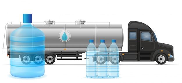 トラックセミトレーラー配信と精製飲料水の概念ベクトル図の輸送
