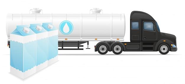 トラックセミトレーラー配信と牛乳概念ベクトル図の輸送