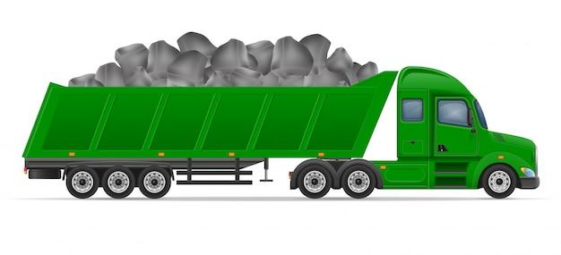 トラックセミトレーラー配送と建設資材の概念ベクトル図の輸送
