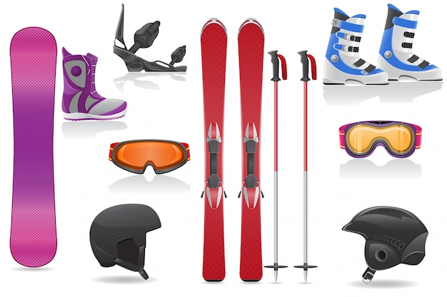 Лыжи и сноуборд набор элементов оборудования векторная иллюстрация