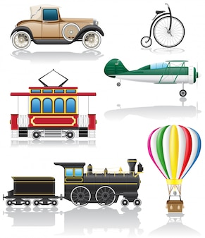 Набор старых ретро транспорта векторные иллюстрации