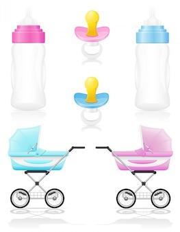 現実的な乳母車瓶おしゃぶりピンクとブルーのベクトル図のセット