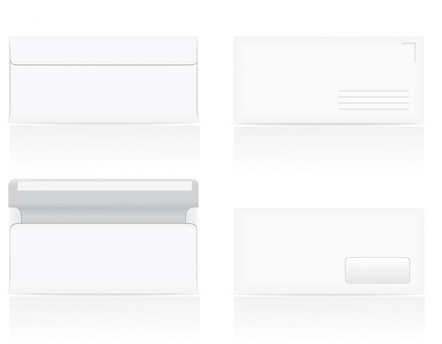 白い空白封筒のベクトル図のセット