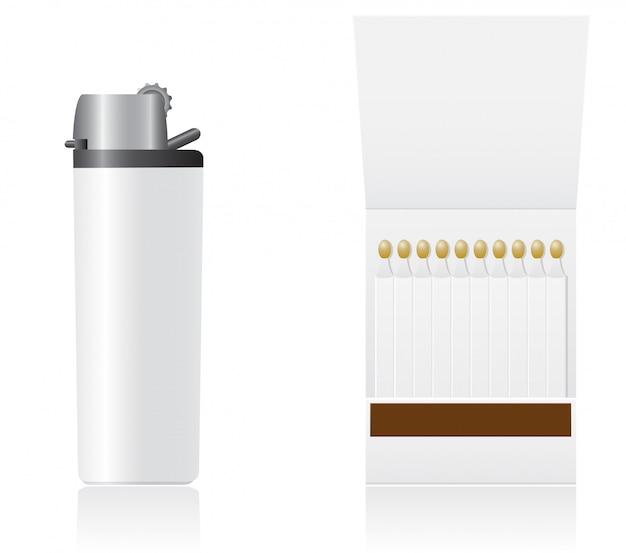 Набор белых пустых зажигалок и спичек векторная иллюстрация