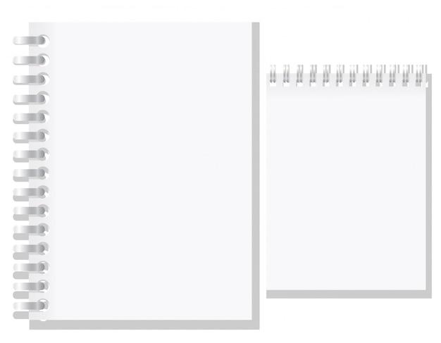 白い空白のノートブックのベクトル図のセット