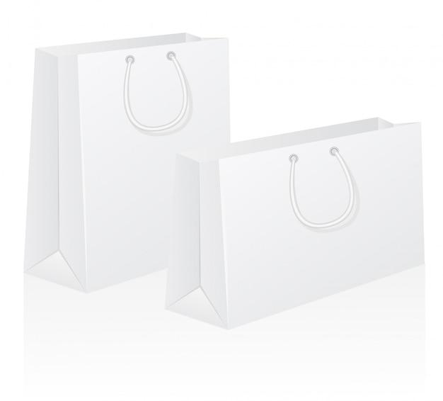 白い空白の紙の買い物袋のベクトル図のセット