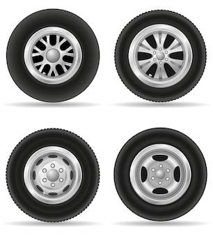 Набор реалистичных колес для автомобиля векторная иллюстрация