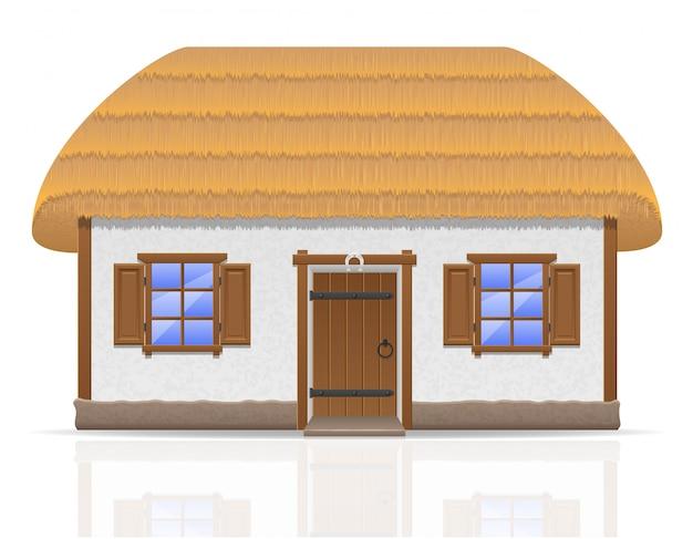 Старинный фермерский дом с соломенной крышей, векторная иллюстрация