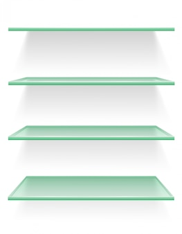 Прозрачная стеклянная полка векторная иллюстрация