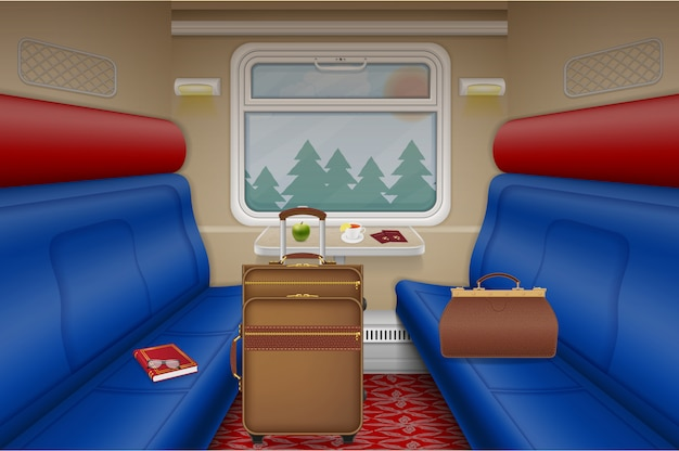 Поезд купе внутри вид вектор