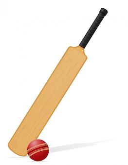 Крикетная бита и мяч векторная иллюстрация