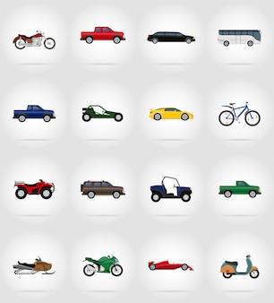 Транспорт плоские иконки векторная иллюстрация