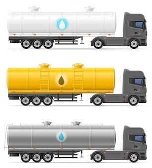 液体輸送用タンク付きトラックセミトレーラーベクトルイラスト