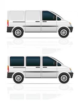貨物と乗客の輸送のためのバンベクトルイラスト