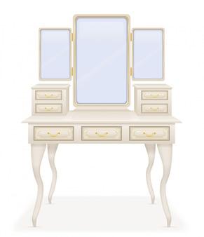 バニティテーブル古いレトロな家具のベクトル図