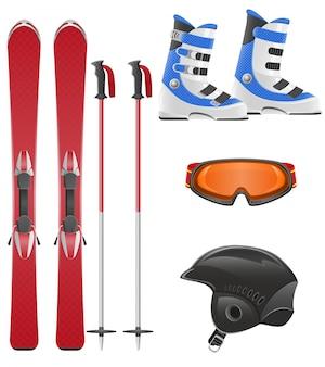 スキー用具セットベクトル図