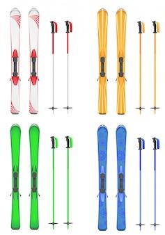 Набор горных лыж векторная иллюстрация