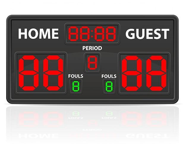 バスケットボールスポーツデジタルスコアボードベクトル図