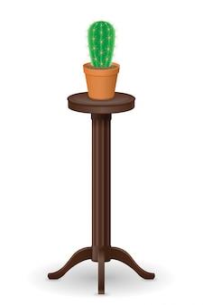 植木鉢の家具とサボテンのベクトル図のために立つ