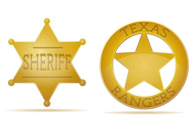 星の保安官とレンジャーのベクトル図