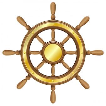 船のベクトル図のステアリングホイール