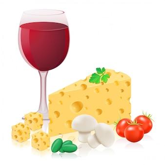 チーズとワインのベクトル図のある静物