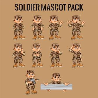 さまざまなポーズの兵士のキャラクター